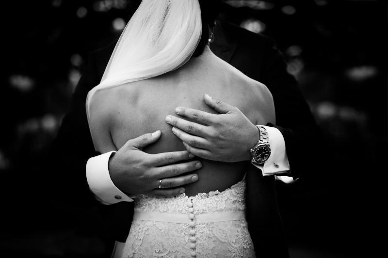 Escote de la espalda del vestido de novia