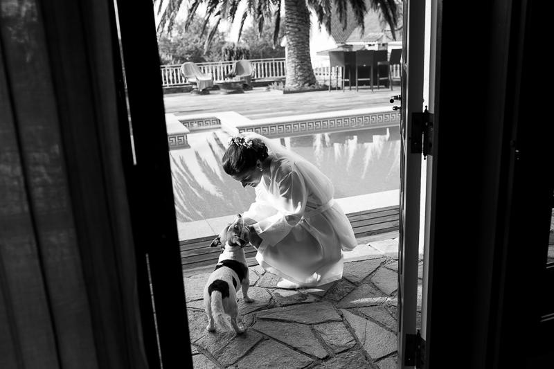 Fotografia de boda en Santiago de Compostela , novia con su perro en los preparativos