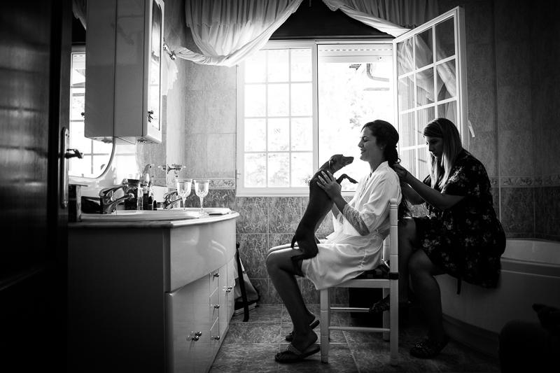 Fotografías de Boda Pazo Torre de Xunqueiras preparativos novia en casa