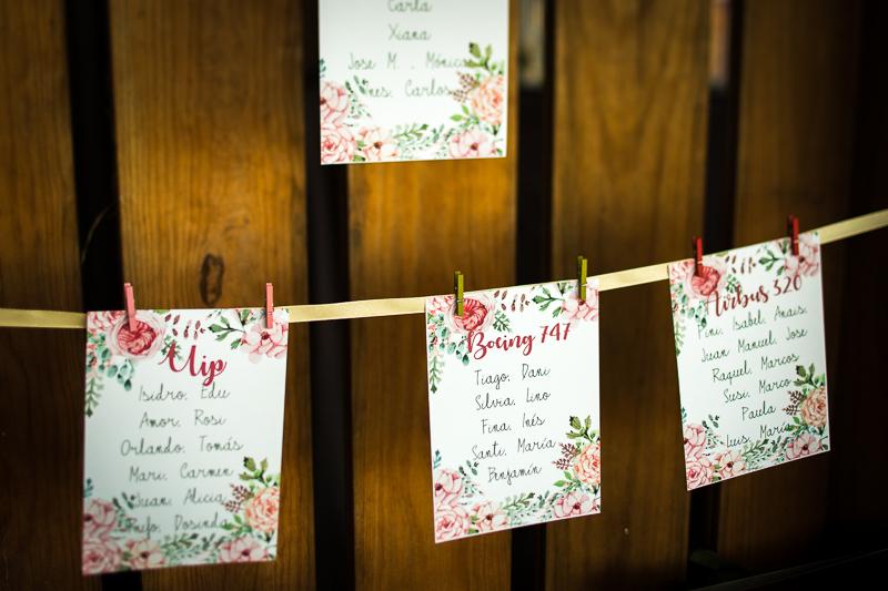 Fotografía de Boda Pazo Torre de Xunqueiras detalle mesas de boda