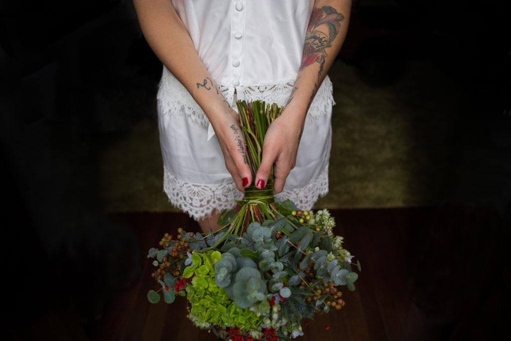 Fotografía de boda Pazo da Touza ramo novia