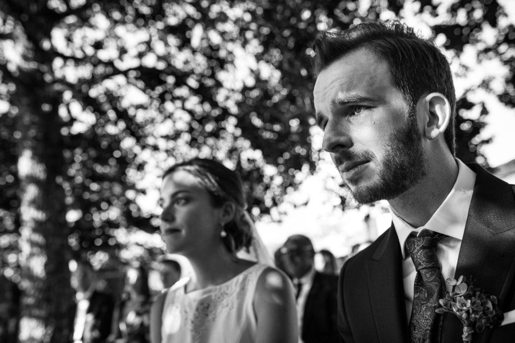 Fotografía de boda Pazo da Touza novio emocionado en la ceremonia