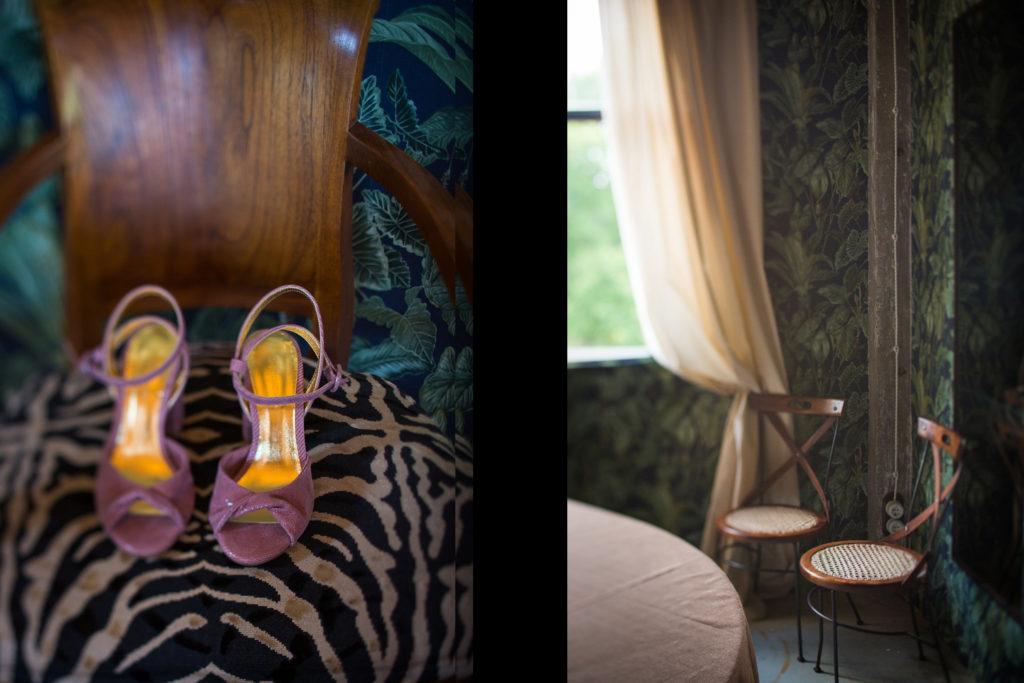 Fotografía de boda zapatos morados