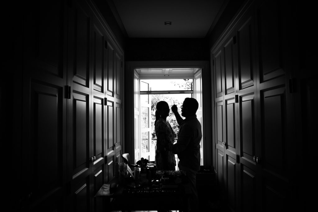 Fotografia de boda Novia con maquillador