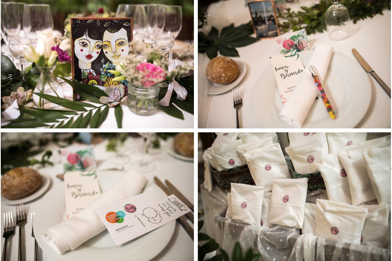 Fotografia de boda decoración de la mesa