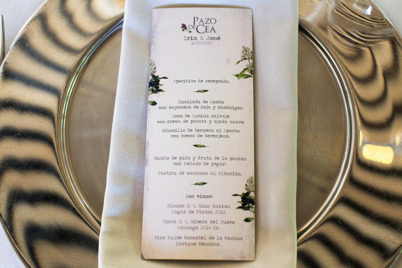 Fotografia de boda detalle de la minuta